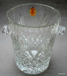 Dresden Kristall Germany Ice Bucket 24% Lead Cut Crystal Vtg Label Diamond Wheat