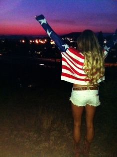 American flag sweater, white cut-off shorts. casual, comfy, holiday, 4th of July, patriotic, hangout, summer outfit.