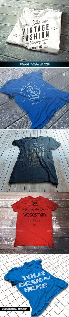 Vintage TShirt Mockup — Photoshop PSD #color #apparel • Available here → https://graphicriver.net/item/vintage-tshirt-mockup/8376796?ref=pxcr