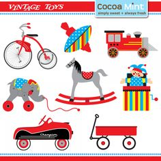 vintage toys party clip art