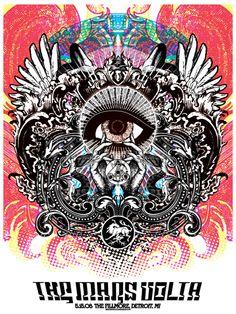 The Mars Volta concert poster, by Matt Daniels Tour Posters, Band Posters, Music Posters, The Mars Volta, Music Illustration, Illustrations, Psychedelic Music, Alien Art, Concert Posters