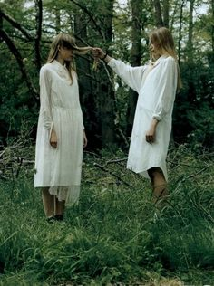 Dowrie Woods, Scoland, 28/9/15 - Two visiting Eastern European girls pull hair and slow down time to protect their own