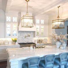 """Sunday night lights. ✨ white kitchen with glam details"