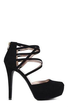 Deb Shops Round Toe Platform High Heel with Crossover Straps $19.99