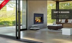 Supreme Foyers - Duet 4 Seasons Double Sided Fireplace. Meant to be installed with one side indoors and the other side outdoors. Perfect for fireplace between living room and porch!