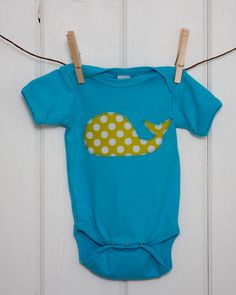 Baby Clothes // Bright Aqua Onesie with a Limey Dot Whale // Size 12-18 months // Polka Dot Whale Onesie // Unisex Onesie