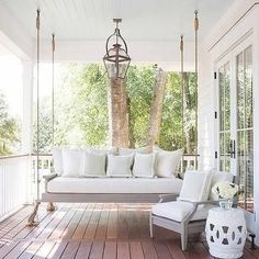 46343d0b1af3 Patio with Porch Swing Sofa and Porch Board Floors  amp  Porch Beadboard  Ceiling