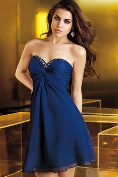 2014 Sweetheart Beaded Neckline Pleated Bodice Chiffon Homecoming Dress A Line Short/Mini