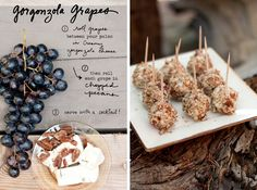 Gorgonzola & pecan Grapes (goat cheese would be equally delicious with candied walnuts)