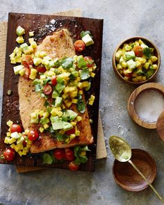 Cedar Plank Salmon with Mango Avocado Salsa from www.whatsgabycooking.com…