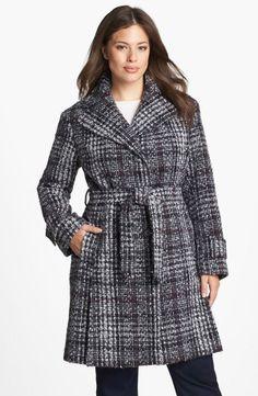 DKNY Belted Plaid Tweed Coat