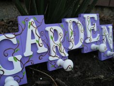 Lilac Garden Wall Hook Sign With Vines & Leaves  by TreeTownPaper, $20.00
