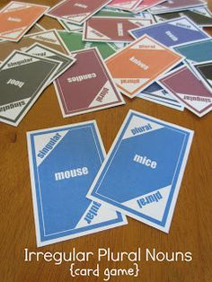 Irregular Plurals Card Game from Relentlessly Fun, Deceptively Educational: Teaching Language Arts, Speech Language Therapy, Language Activities, Speech And Language, Teaching English, Speech Therapy, English Class, Therapy Games, English Games