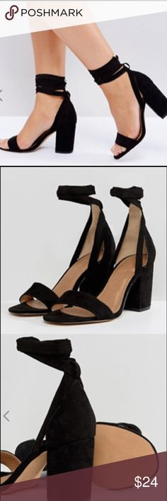 399ab1a9fa7 ASOS Howling Tie Leg Block Heel Sandals (Wide Fit) Black suede heeled  sandals with toe strap and long ankle ties.