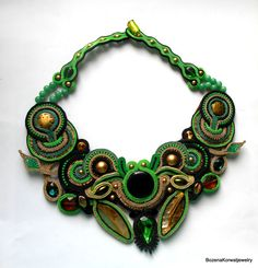 soutache necklace by BozenaKorwatJewelry on Etsy