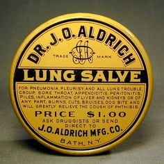 Old & Orig. c1910 LUNG SALVE Tin Box Cure-All Quack Medicine