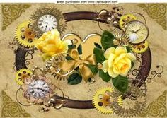 Gold Heart With Beautiful Yellow Roses In Steampunk Frame A4