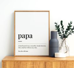 Papa Definition Meaning Printable Art, Grandpa Gift, Fathers Day Print, Grandpa Dictionary Quote, Printable Wall Art *INSTANT DOWNLOAD* Printing Websites, Online Printing, Printable Quotes, Printable Wall Art, Dad Definition, Office Printers, Bathroom Prints, Bible Verse Art, Dad Quotes