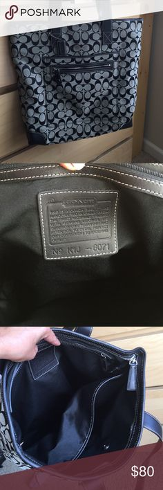 """Authentic Coach Tote Bag This is a great Tote only used a handful of times, excellent condition. Khaki and black C signature logo, measurements 15""""x16""""x2.5 - 2,  10""""drop straps. No tears or stains very clean Coach Bags Totes"""