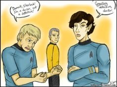 holligenet:   Starlock by ~HolliGenet Several others have already done the Sherlock and Star Trek crossover. I've been lazy and didn't post mine, so cocokat beat me to the punch on this one, with a very similar joke. lol So, make sure to check out cocokat's too, b/c it's awesome and was online before mine. :D Scribble is scribbly.  EDIT: I love how all of our silly Sherlock/Star Trek crossovers get more hilarious with every new ridiculous coincidence and reference. LOL Thank you…