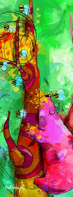 Big Bear, Wall Stickers, Bees, Abstract, Creative, Artwork, House, Painting, Wall Clings