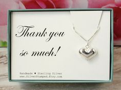 Thank you gift sterling silver heart necklace box by SilverStamped