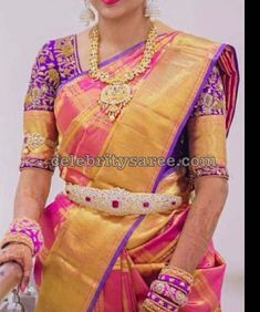 Elbow Length Blouse Designs for Silk Sarees - Saree Blouse Patterns Wedding Saree Blouse Designs, Silk Saree Blouse Designs, Saree Blouse Patterns, Bridal Silk Saree, Silk Sarees, Kids Blouse Designs, Maggam Work Designs, Blouse Models, Beautiful Blouses