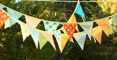 HUGE SALE Colorful Fabric Bunting Banner Prop Decoration in Orange, Green, Yellow and Aqua. Designer's Choice. Best Selling Item in Our Shop