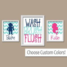 MERMAID PIRATE Wall Art Boy Girl Brother Sister Bathroom Custom Name Child Nautical Sea Ocean WASH Brush Polka Dot Set of 3 Canvas or Prints