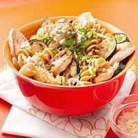 Lemony Fusilli With Chicken, Zucchini and Pine Nuts via fitness magazine