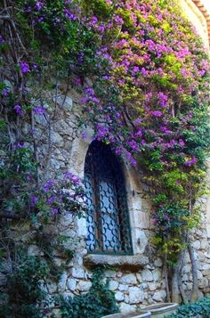 """""""Story Prompt: Who might live here? What can they see through the window? A garden? Beautiful Gardens, Beautiful Flowers, Beautiful Places, Fachada Colonial, Window View, Enchanted Garden, Garden Gates, Witch's Garden, Architecture"""