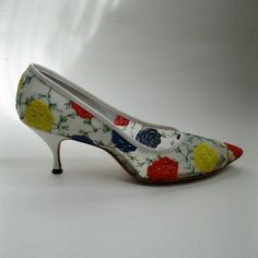 HAHA! I JUST BOUGHT THEM! In yo face, Pinterest! Vintage 1960s White Floral Shoes Wedding High by unionmadebride, $78.00