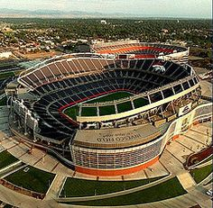 Past and Present -Sports Authority Field at Mile High with the original Mile High behind it. Previous and present home to the Denver Broncos!