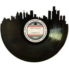 Detroit Skyline Records Redone Label Vinyl Record by RecordsRedone Vinyl Record Art, Vinyl Records, Sock Hop Party, Track Door, Detroit Skyline, Michigan, Detroit History, Wedding Messages, Skyline Silhouette
