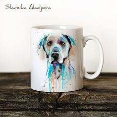Perro Braco de Weimar taza acuarela cerámica taza por SlaviART