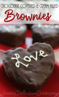 Chocolate Covered Cream Filled Brownies are the perfect Valentine's Day recipe.
