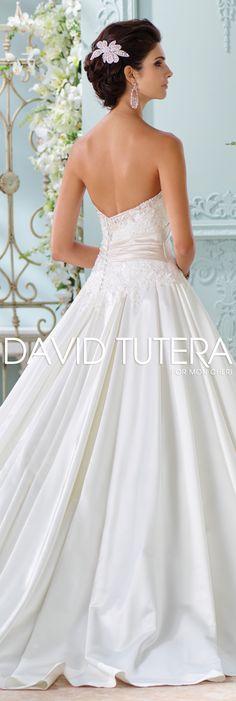 The David Tutera for Mon Cheri Spring 2016 Wedding Gown Collection - Style No. 116200 Heloise #satinandlaceweddingdress