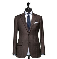 Tailored 2-Piece Suit – Fabric 4366 Check Brown Cloth weight: 260g Composition: 100% Wool Super 110's