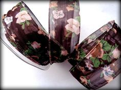 "Romantic Wired Floral Cheer Ribbon, Brown / Sheer, 1 1/2"" inch wide, 1 yard For Gift Packing, Wreaths, Center Pieces, Home Decor, Wreaths by PrimroseLaceRibbon on Etsy"