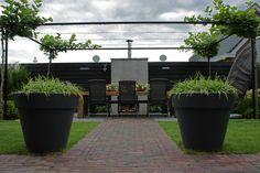 Steel - Mooie grote potten in strakke tuin.