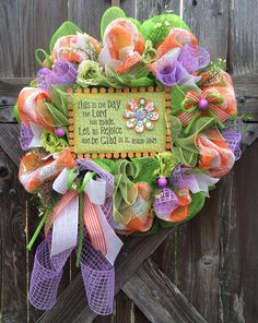 Spring Wreath, Spring Deco Mesh Wreath, Easter Wreath, Rejoice & Be Glad on Etsy, $83.00