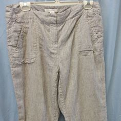 Chico's sz 1 (Med)  Linen Striped Grey/White Zip/hook front Relaxed 4pockets EUC #Chicos #CasualPants