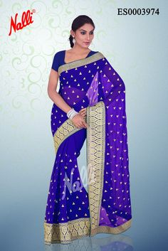 Royal Blue #Chiffon Saree with Embroidery butta on body and attached border. Includes Unstitched Blouse.Shop online http://www.nallisilks.com/store/sarees/casual-wear/printed-sarees/chiffon/royal-blue-chiffon-saree