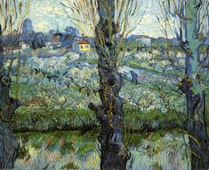 Orchard in Bloom with Poplars,1889, by van Gogh