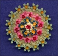 Made in Japan Celluloid Flower Circle Vintage Pin.