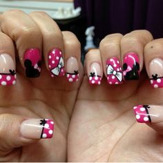23 Disney Nail Art Designs - Madame Hairstyles - Minnie Mouse girl Minnie Mouse girl Minnie Mouse girl Welcome to our website, We hope you are satis - Mickey Nails, Minnie Mouse Nails, Pink Minnie, Disney Nails Art, Mickey Mouse Nail Art, Disney World Nails, Art Disney, Disney Diy, Disney Nail Designs