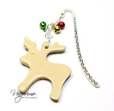 Bookmark, REINDEER Rudolph, Christmas, bells, beige Rudolph Christmas, Christmas Bells, Foil Packaging, Ceramic Pendant, Star Jewelry, Star Earrings, Book Gifts, Different Shapes, Bookmarks