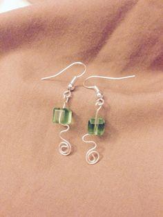 Green square plastic bead earrings  $10