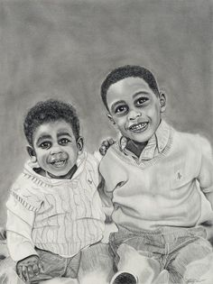 """Melody Vice-artist artsmyvice.com Preston and Aiden Graphite and charcoal on paper 18""""x24""""  2014"""