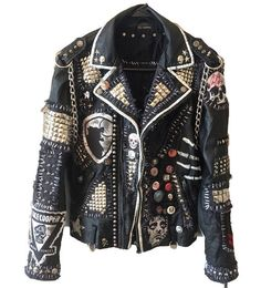 Do people really buy these? It takes all the heart out of expressing yourself with your own jacket designs.and since when is Alice Cooper punk? Lmao Custom punk jackets by Chad Cherry from Chad Cherry Clothing on Etsy. Fashion Mode, Diy Fashion, Latex Fashion, Fashion Boots, Fashion Dresses, Punk Outfits, Cool Outfits, Scene Outfits, Style Punk Rock